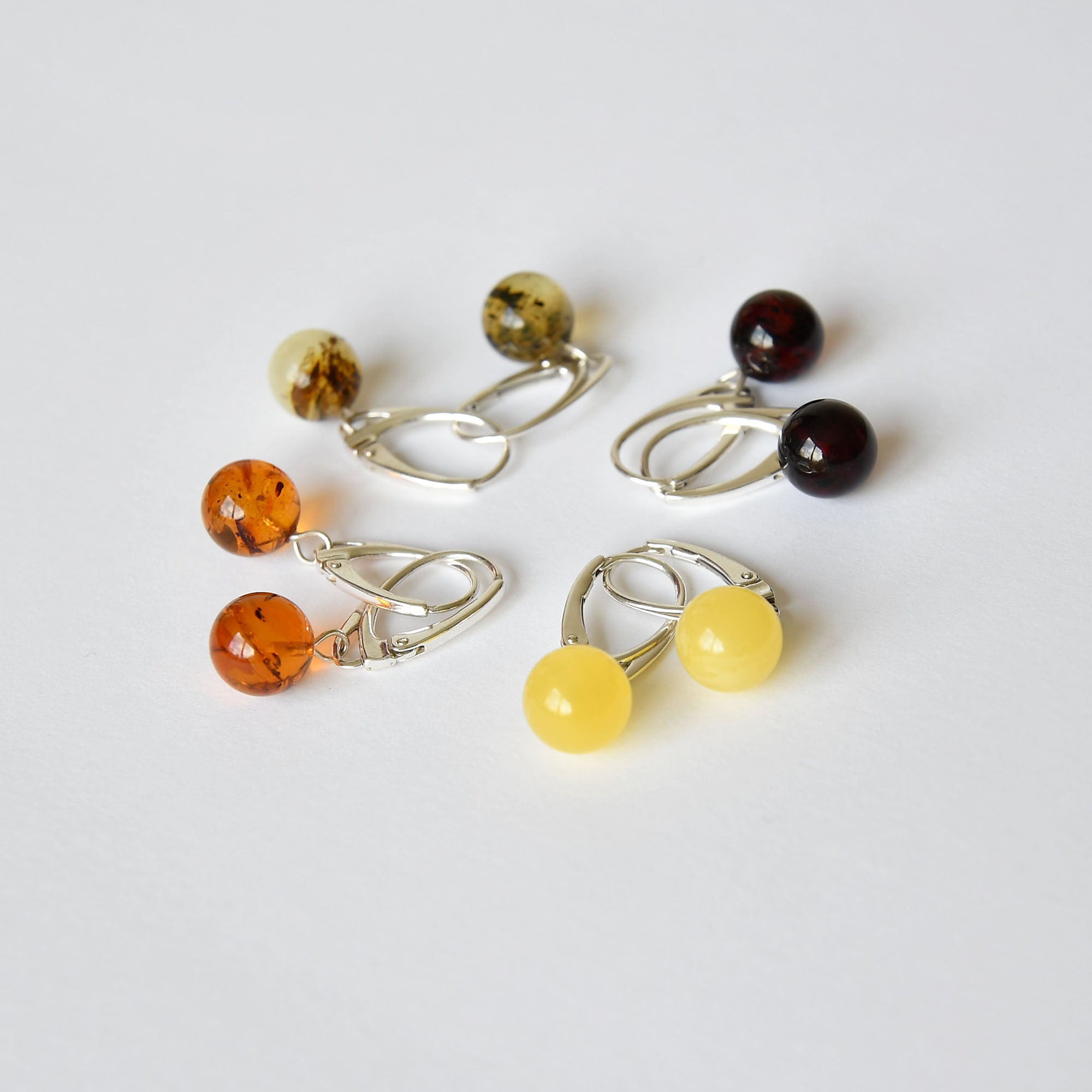 Amber earrings - balls with silver