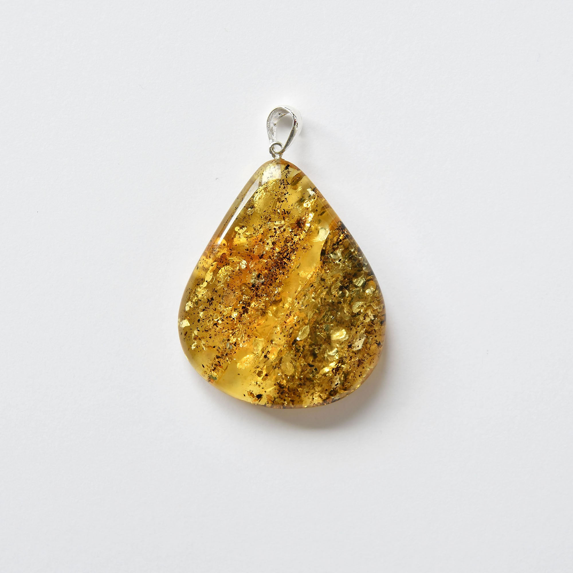 Drop shaped amber pendant of yellow-green pattern