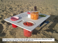 """Octable"" is not only a Beach Table but great for outdoor concerts, use on your boat, or the sandbar, pool deck, sun shelf or patio, compact for an RV, camping and tailgating"