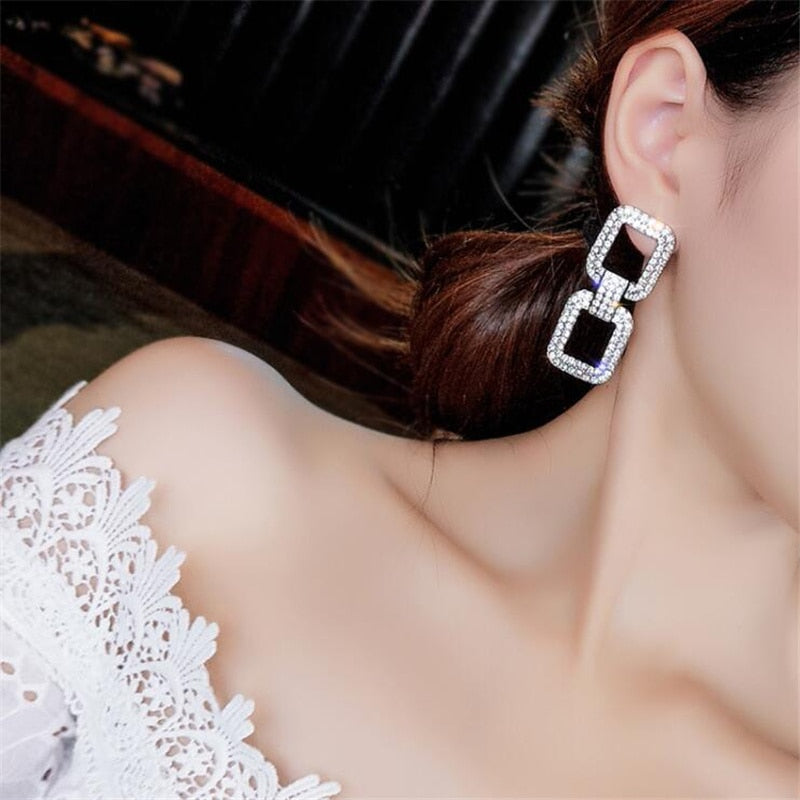 Shiny Crystal Doorknocker Earrings