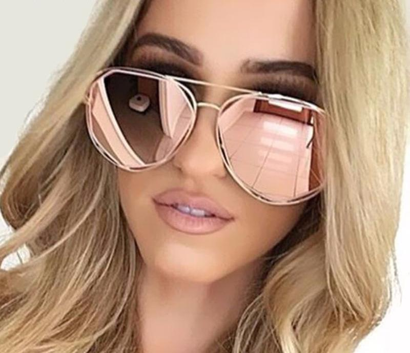 Vegas Geometric Aviator Sunglasses