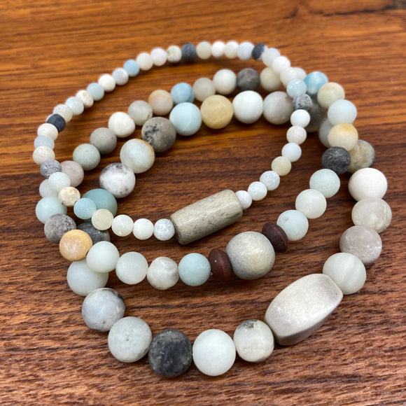 Matte Amazonite Gemstone Bracelet Stack
