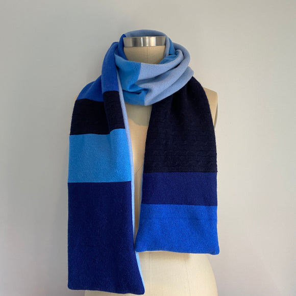 'Blue Wave' 100% Cashmere Recycled Sweater Scarf