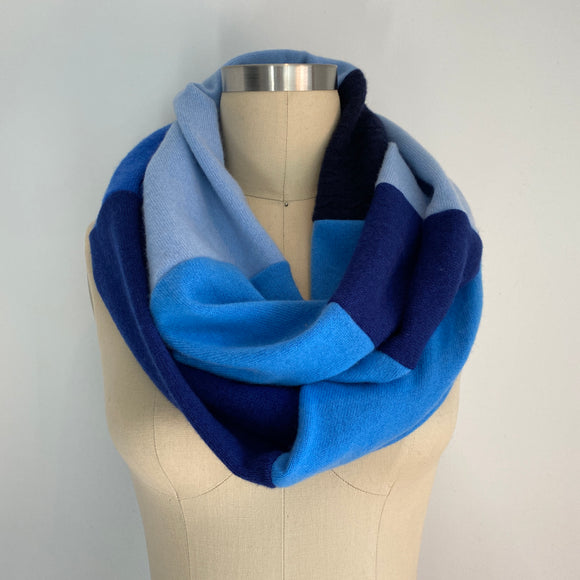 'Blue Wave' 100% Cashmere Recycled Sweater Infinity Scarf Loop