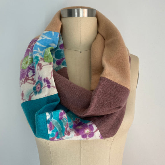 'Hint of Spring' 100% Cashmere Recycled Sweater Infinity Scarf Loop