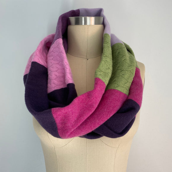 'Violet Delights' 100% Cashmere Recycled Sweater Infinity Scarf Loop