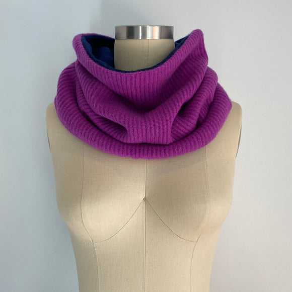 'This or That' Reversible 100% Cashmere Recycled Sweater Scrunch Cowl Scarf