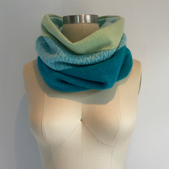 'Ice Pop' 100% Cashmere Recycled Sweater Scrunch Cowl Scarf