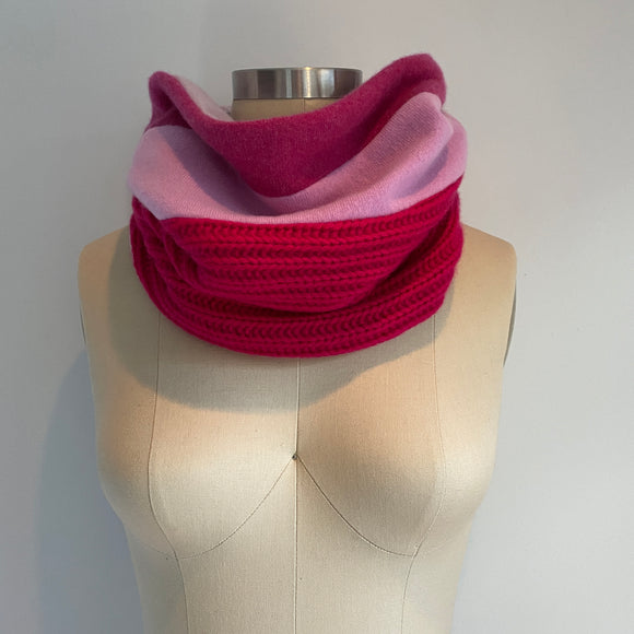 'Raspberry Sorbet' 100% Cashmere Recycled Sweater Scrunch Cowl Scarf