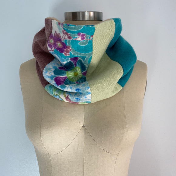 'Tea Cozy' 100% Cashmere Recycled Sweater Patchwork Cowl Scarf