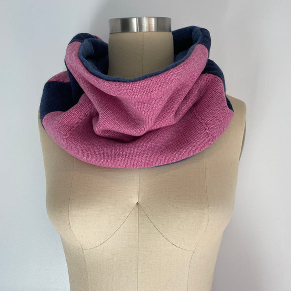 'Color Block' 100% Cashmere Recycled Sweater Patchwork Cowl Scarf