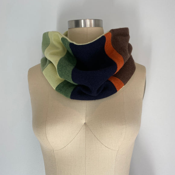 'Harvest Stripes' 100% Cashmere Recycled Sweater Patchwork Cowl Scarf