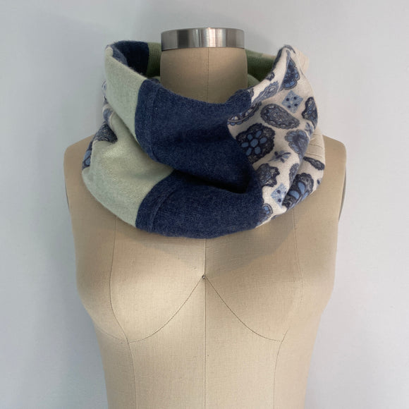 'Denim Dreams' 100% Cashmere Recycled Sweater Patchwork Cowl Scarf