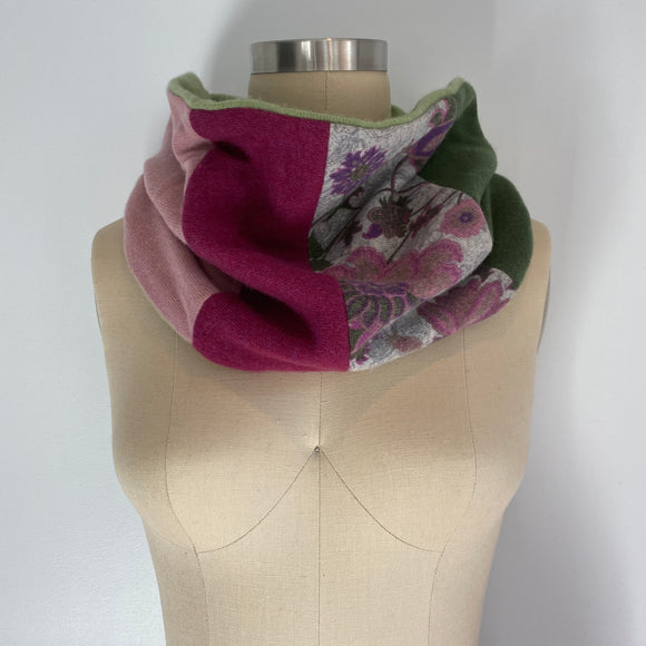 'Secret Garden' 100% Cashmere Recycled Sweater Patchwork Cowl Scarf