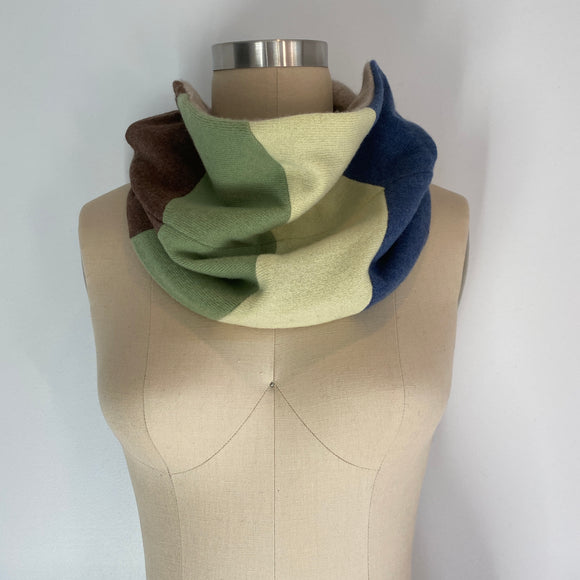 'Chevron' 100% Cashmere Recycled Sweater Patchwork Cowl Scarf