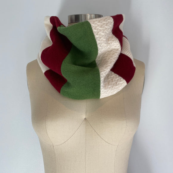 'Holiday Cheer' 100% Cashmere Recycled Sweater Patchwork Cowl Scarf