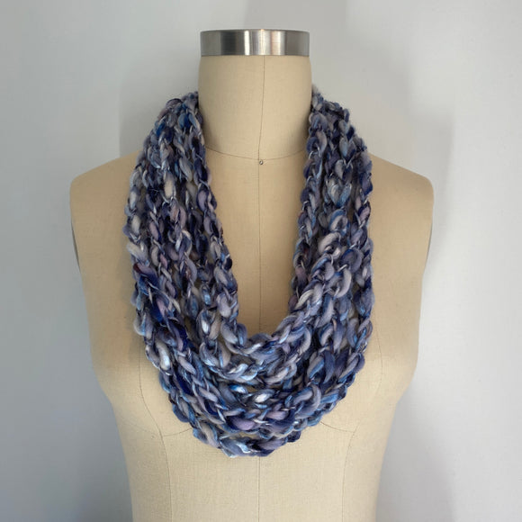 'Stormy Skies' Cozy Scarf Necklace with Repurposed Leather Detail