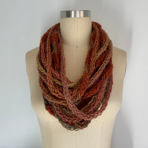 'Rustic Cabin' Cozy Scarf Necklace with Repurposed Leather Detail