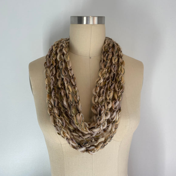 'Woodland' Cozy Scarf Necklace with Repurposed Leather Detail