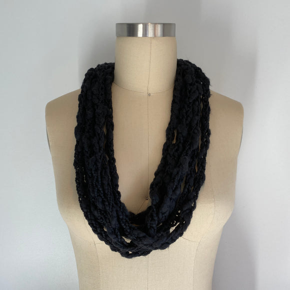 Black Cotton Cozy Scarf Necklace with Repurposed Leather Detail
