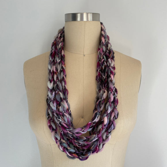 'Winter Berry' Cozy Scarf Necklace with Repurposed Leather Detail