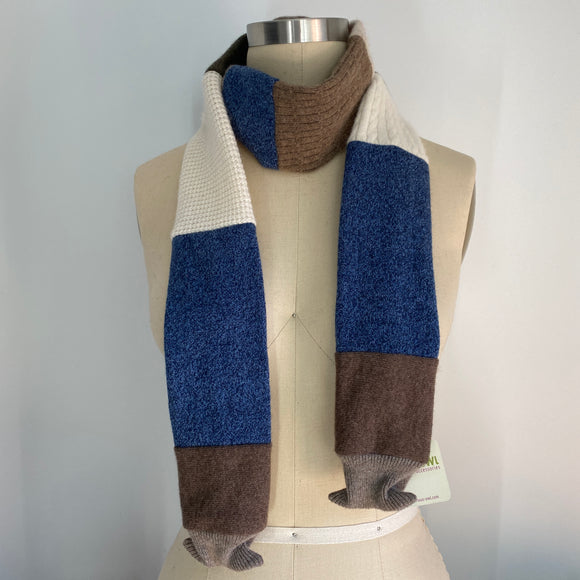 'Casual Friday' 100% Cashmere Recycled Sweater Skinny Scarf