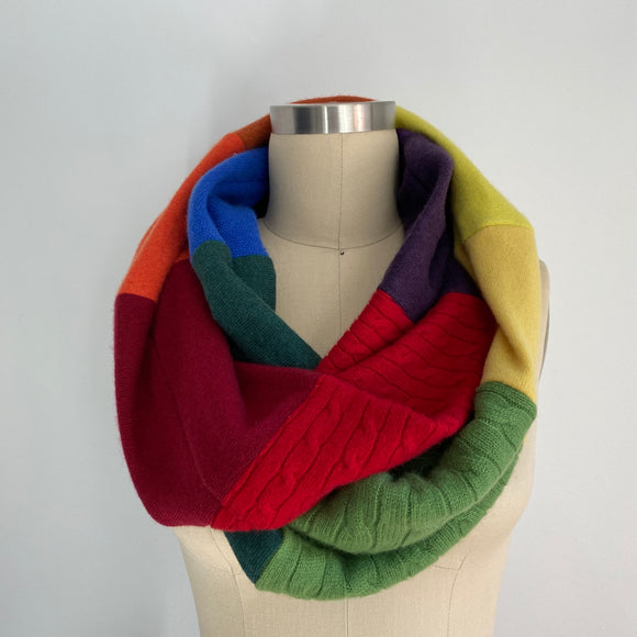 'Double Rainbow' 100% Cashmere Recycled Sweater Infinity Scarf Loop
