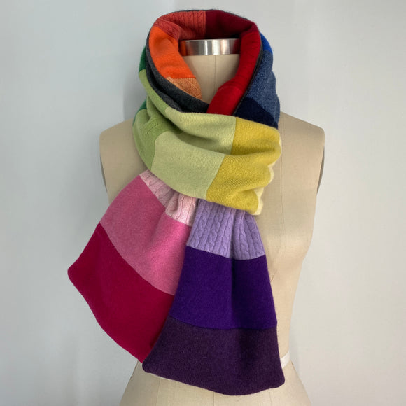 'Rainbow Connection' 100% Cashmere Recycled Sweater Scarf