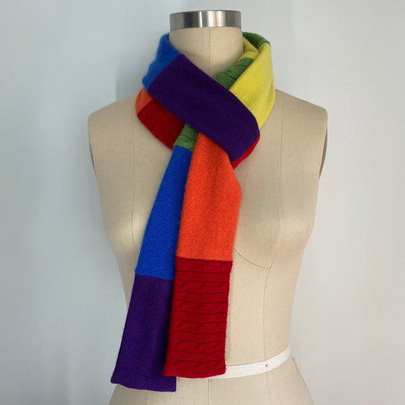 'Skinny Rainbow' 100% Cashmere Recycled Sweater Scarf