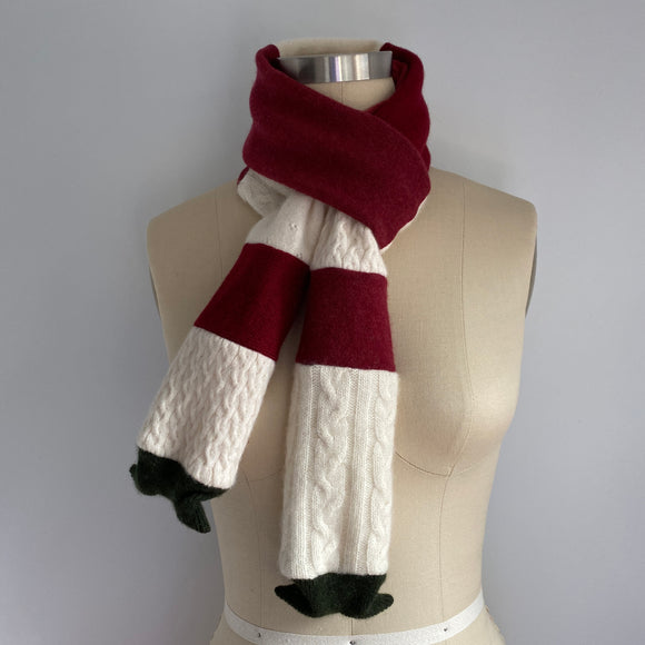 'Peppermint Stick' 100% Cashmere Recycled Sweater Skinny Scarf