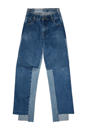 BLUE DECONSTRUCTED JEANS | CUSTOM