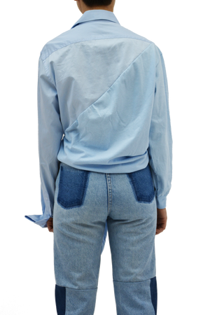 Half corporate longsleeve in babyblue