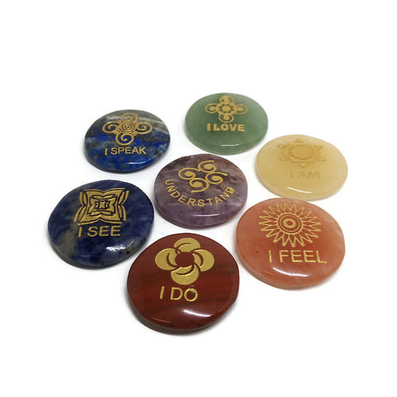 7 Chakra Engraved Round Pocket Stones - with Emotions of each Chakra