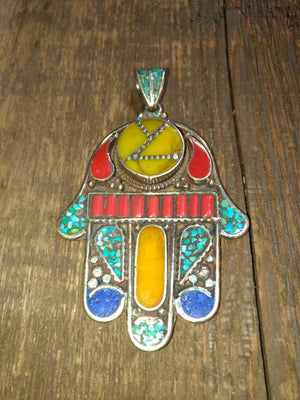 Afghan Silver Antique Hamsa Pendent - Carnelian