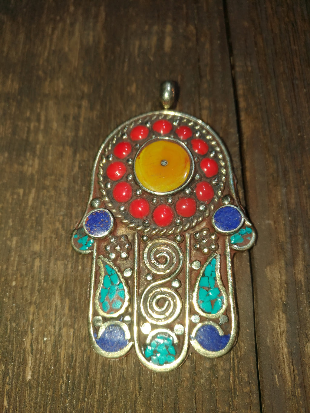 Afghan Silver Antique Hamsa Pendent - Carnelian Circle