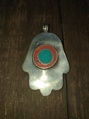 Afghan Silver Antique Hamsa Pendent - Carnelian Centre