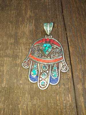 Afghan Silver Antique Hamsa Pendent - Turquoise Centre