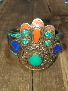 Afghan Silver Antique Hamsa Cuff Bracelet - Turquoise Centre