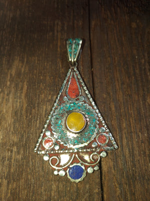 Afghan Silver Antique Triangle Pendent