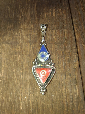 Afghan Silver Antique Triangle Pendent with Lapis tear drop