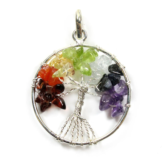7 Chakra Tree of Live Gemstone Pendent