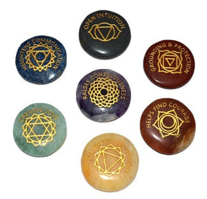 7 Chakra Engraved Round Pocket Stones - With Meanings Text and Chakra Symbols