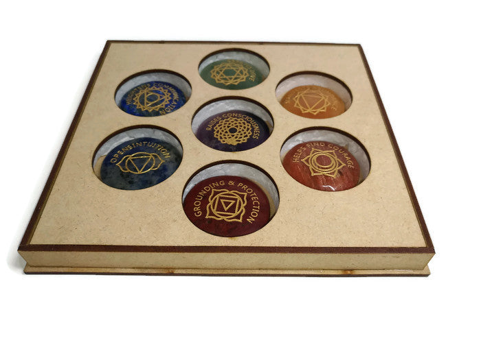 7 Chakra Engraved Round Pocket Stones with Gift Box - With Meanings Text and Chakra Symbols