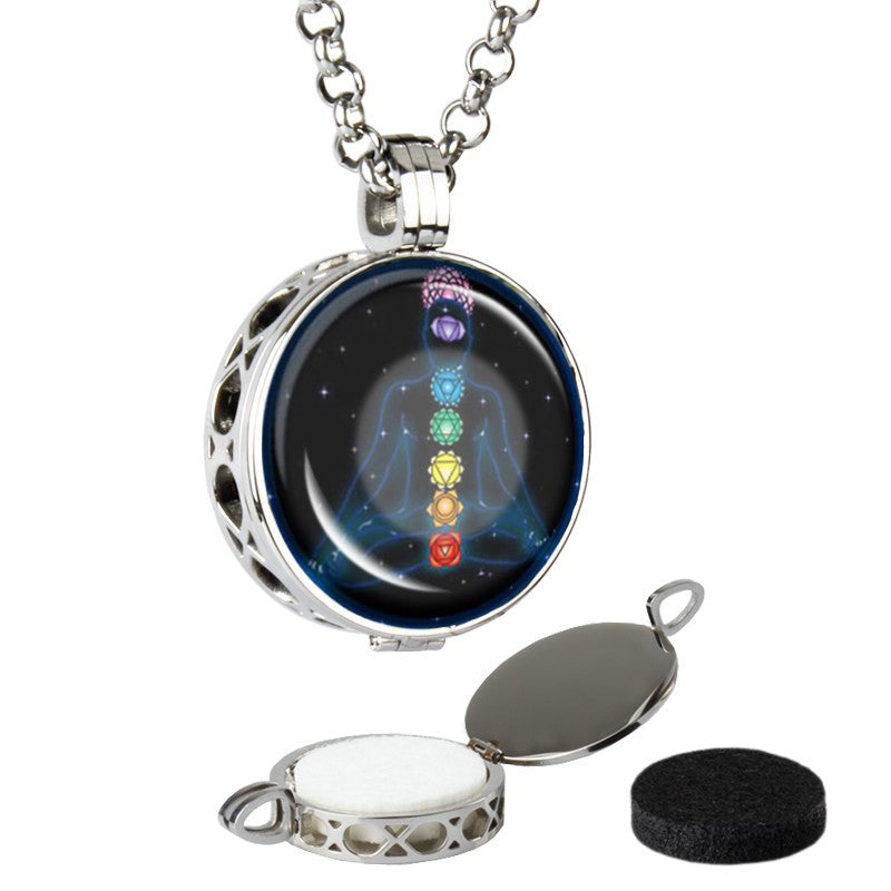 Aromatherapy Stainless Steel Side Diffuser Pendent 7 Chakra