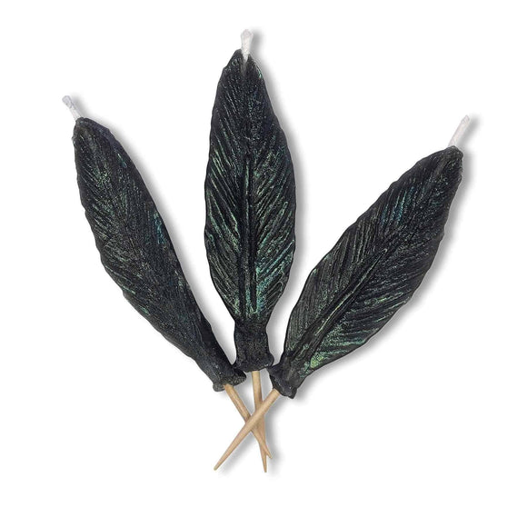 FEATHER Candle Candelina's  (Set of 3) - Black / Aqua