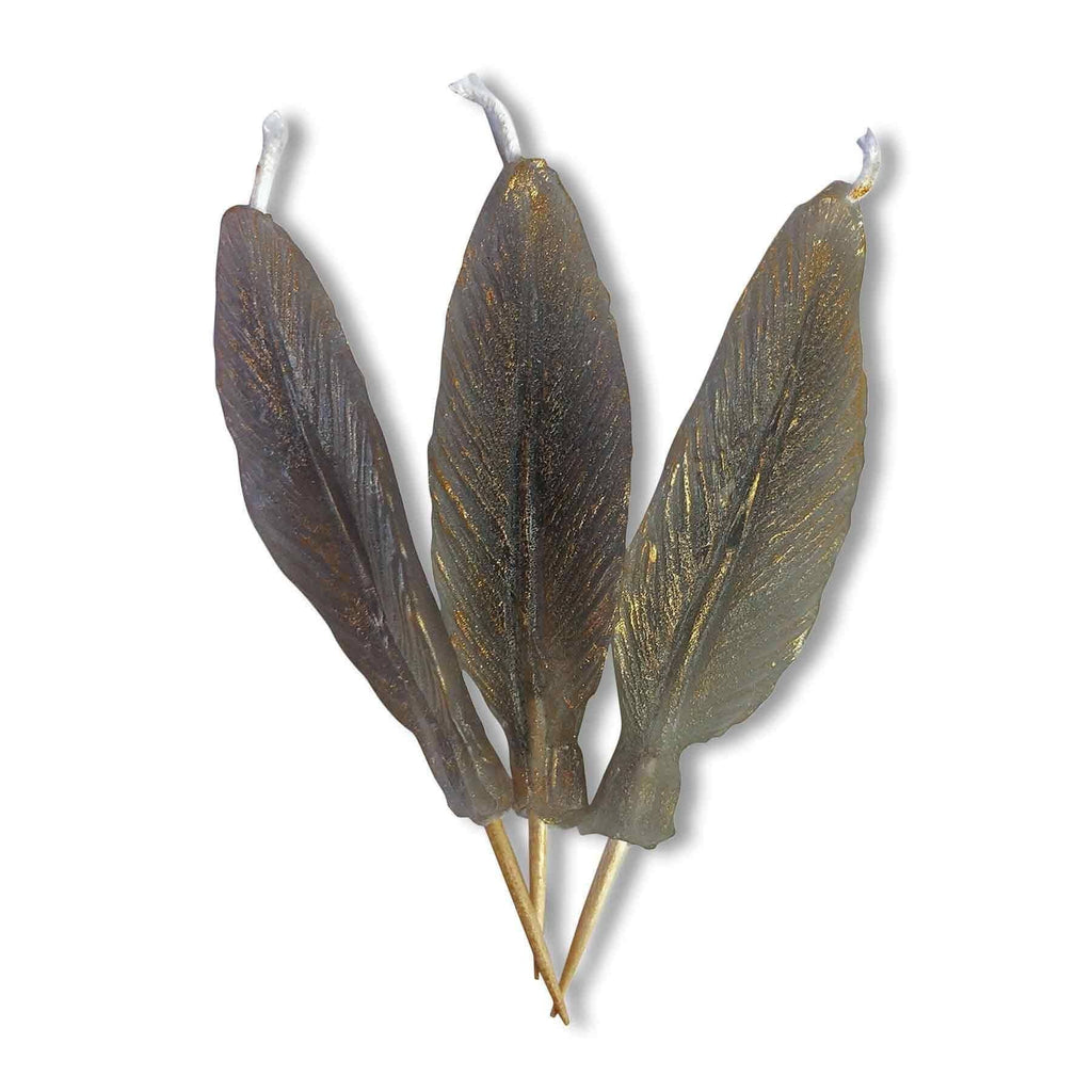 FEATHER Candle Candelina's  (Set of 3) - Grey / Gold
