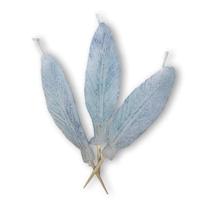 FEATHER Candle Candelina's (Set of 3) - White / Aqua