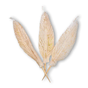 FEATHER Candle Candelina's  (Set of 3) - White / Gold