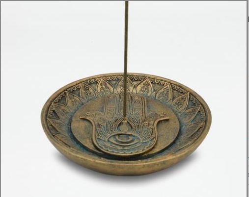 Round Incense Holder with Hamsa