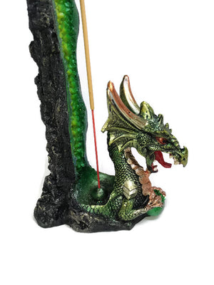 Dragon Incense holder - Tall Green Dragon
